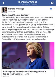 Richard gets political again and relates it to ❤️❤️❤️play! 3-10-2016 Facebook