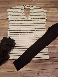V-Neck Knit Striped Dress W/ Mock Neck