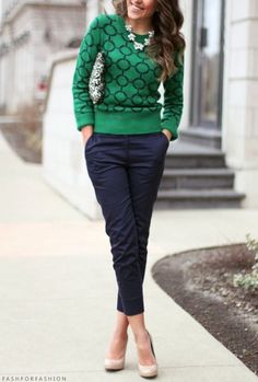 Sea Salt is Becoming the 'Chameleon' Color You Can't Say No To Navy pants and green print sweater. Love this sweater! Casual everyday or work attire.Navy pants and green print sweater. Love this sweater! Casual everyday or work attire. Classy Work Outfits, Work Casual, Women's Casual, Fall Work Outfits, Casual Pants, Smart Casual, Outfit Work, Casual Work Outfit Winter, Casual Wear
