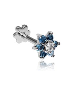 5.5mm Sky Blue Diamond Flower Threaded Stud (Conch) Image #1