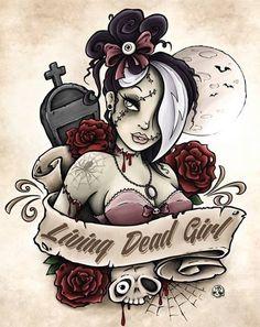 zombie pin up girl Zombie Pin Up, Zombie Art, Zombie Eyes, Rob Zombie, Pin Up Girl Tattoo, Pin Up Tattoos, Body Art Tattoos, Cartoon Tattoos, Hand Tattoos