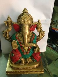Brass Ganesha adorned with Coral and Turquoise  stones - 8 inch*6 inch