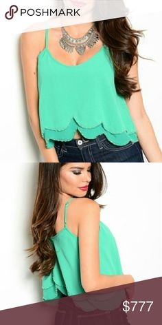 💋JUST ARRIVED 💋BOHO TEAL GREEN TOP Brand new with tags Boutique item  Price is firm   Teal green top featuring beaded details around bottom edges, adjustable straps. Pair with your favorite jeans or denim shorts for the summer.  100% polyester  Vacation cruise party getaway tropical vegas     Tops