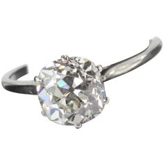 Edwardian 2.5 Carat Old Mine Cut Diamond in a Platinum Setting | From a unique collection of vintage engagement rings at https://www.1stdibs.com/jewelry/rings/engagement-rings/