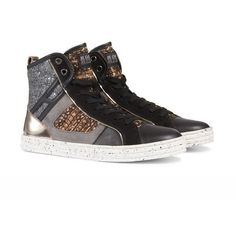 R141 High-top ($275) ❤ liked on Polyvore featuring shoes, sneakers, hogan rebel shoes, urban footwear, high top sneakers, hogan rebel and urban sneakers