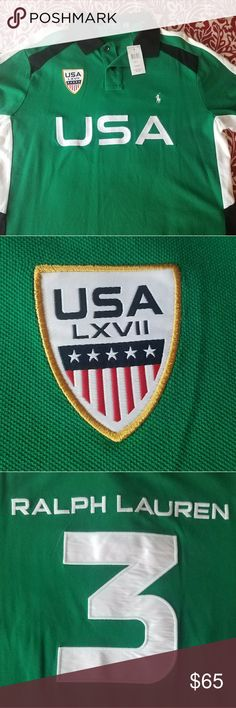 Polo Ralph Lauren Team USA shirt Green short sleeve with embroidered USA on the front. USA sheild on the right side of chest, small pony on the left side. On the back huge #3 with embroidered RALPH LAUREN above the #3 Polo by Ralph Lauren Shirts Polos