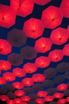 umbrella lights at night