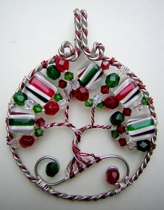 Christmas Tree of Life Wire Wrapped Pendant by RachaelsWireGarden, $75.00