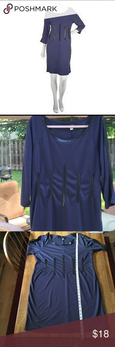 "Midnight blue dress by Mark Zunino-XL. Midnight blue knit dress by Mark Zunino-XL (18-20). 3/4 sleeves w/faux leather trim. Material: 52% polyester/ 48% rayon.                                              Approximate measurements-Shoulder to hem: 39"".                             Underarm to underarm: 22 1/2"". Very good condition as seen by photos. No stains. No tears. Smoke free home. mark zunino Dresses Midi"