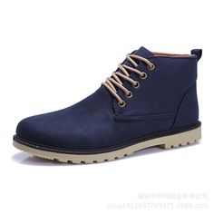 New arrival fashion boots shoes for men ankle boots casual shoes canvas fashion solid round toe martin snow boots shoes man
