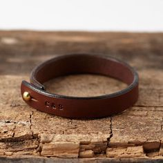 Personalised Stamped Leather Bracelet - men's jewellery