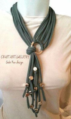 Necklace, t-shirt yarn March is Craft Month! Craft up your old tees an… Awesome! Necklace, t-shirt yarn March is Craft Month! Craft up your old tees an… – Yarn Necklace, Fabric Necklace, Scarf Jewelry, Textile Jewelry, Fabric Jewelry, Beaded Necklace, T Shirt Necklace, Jewellery, Leather Jewelry
