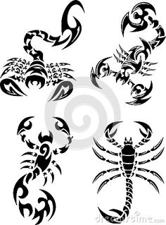 Vector Set of Tribal Styled Scorpion Tattoo.