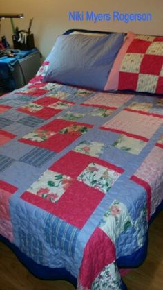 I made the quilt to pull the room together. It's not  very comfortable bed but it works. It folds up every which way.