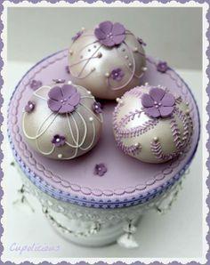 Purple  Silver Bauble Mini Cakes