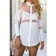 Chic Mesh Asymmetrical Button Down Shirt (19 AUD) ❤ liked on Polyvore featuring tops, white, long-sleeve shirt, asymmetrical top, long sleeve button up shirts, white mesh top and long sleeve mesh top