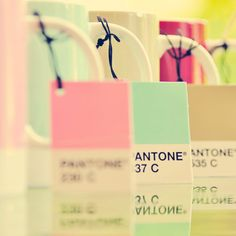 Pantone Pastel Tones Mugs - 5x5 Fine Art Photo. $9,90, via Etsy.