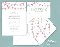 Pennant / Bunting Wedding Invitation/ DIY PDF Printable. $3.95, via Etsy.