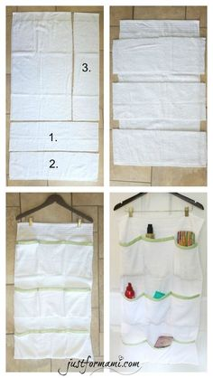To avoid the mess in the bathroom I made this DIY Organizer made of Towel for . - To avoid the mess in the bathroom I made this DIY Organizer made of Towel to hang behind the door, - Diy Organizer, Diy Organization, Fabric Organizer, Hanging Storage, Diy Storage, Porta Shampoo, Diy Bathroom, Organize Fabric, Creation Couture