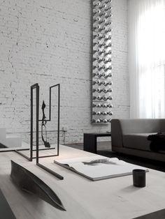 Contemporary Living Room with interior brick, Lukas Machnik Custom Object, Lukas Machnik Custom Sculpture
