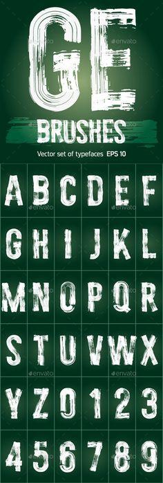 Set of Grunge Brush Font