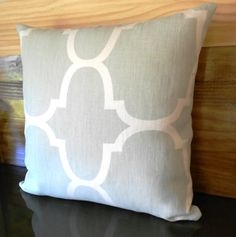 Designer pillow cover, Windsor Smith for Kravet, Seafoam Riad, blue green trellis on Etsy, $55.45 CAD