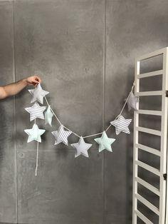 Girlande Sterne Mint Grau