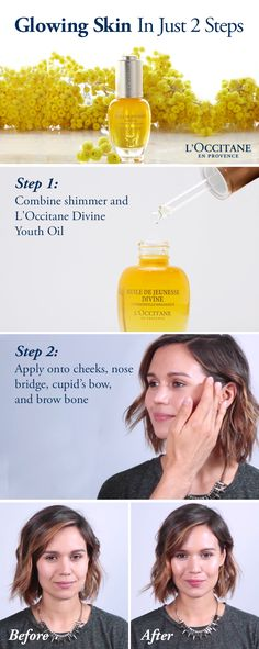 Makeup tip: Your skin should feel as good as it looks. Add this easy strobing tutorial to your beauty routine for a fresh and hydrated glow. All you need is a little loose shimmer powder and L'Occitane Immortelle Divine Youth Oil.