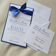 nice 8 royal blue and silver wedding invitations