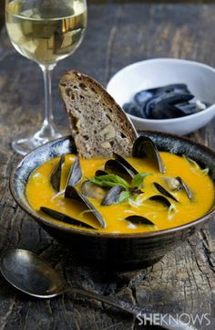 Yellow tomato lemongrass soup with mussels. I was looking for a recipe that would help me use a bunch of big lemon yellow tomatoes. This broth is the most aromatic Thai-inspired recipe that uses fresh Thai basil, ginger and garlic.