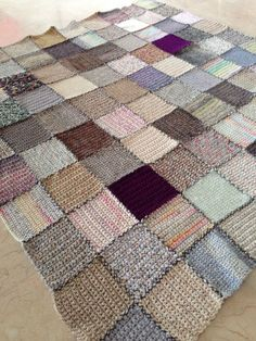 Crochet patchwork afghan - no pattern but looks like single-crocheted scrappy squares stitched together.