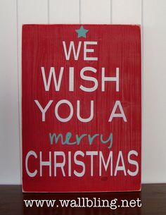 We Wish You a Merry Christmas  12x16in Wood Sign by WallBling, $45.00
