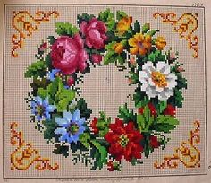 SMALL ANTIQUE HAND PAINTED BERLIN TAPESTRY PATTERN. WREATH,ASSORTED FLOWERS. (H) in Antiques, Fabric/Textiles, Embroidery | eBay