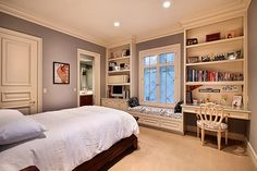 #nook #bookshelf  My dream bedroom. The ultimate in nooks and built-ins.