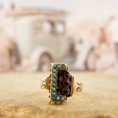 Victorian turquoise garnet ring