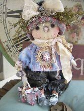 "Primitive Prim Folk Art Snowman Snowwoman OOAK Doll ""Dot"" Must See!!!"