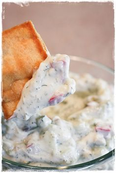 Greek Yogurt Dip - Light Yogurt, small diced cucumber, avocado, tomatoes and dill. Add garlic powder and salt to taste