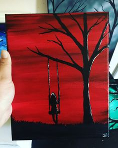 Something for all horror lovers to enjoy. Easy Canvas Art, Mini Canvas Art, Diy Canvas, Cool Art Drawings, Silhouette Art, Horror Art, Acrylic Art, Painting & Drawing, Workout Exercises