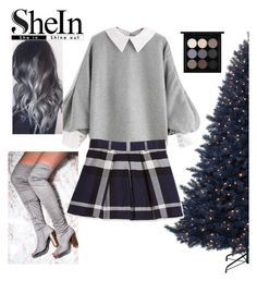 """""""ᑕOᑎTᖇᗩᔕT ᗷᒪOᑌᔕE"""" by lulala002 ❤ liked on Polyvore featuring Burberry, MAC Cosmetics, Christmas, gray and shein"""
