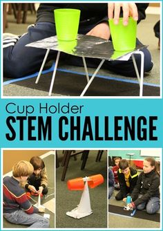 Cup Holder STEM Challenge: build the tallest structure possible that will hold up 2 cups as far apart as possible.
