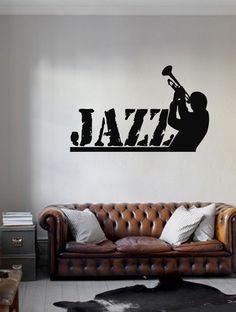 ik209 Wall Decal Sticker Decor jazz trumpet man playing trumpet music musician