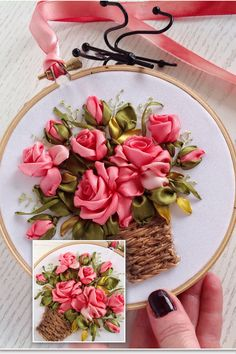 Delicate Red roses bouquet Hand stitched with silk ribbons Embroidery hoop art with beautiful basket of delicate red roses bouquet is silk ribbons stitched miniature. It's amazing handmade wall hanging for your bedroom room and a perfect keepsake for your Ribbon Embroidery Tutorial, Embroidery Patterns Free, Silk Ribbon Embroidery, Embroidery Hoop Art, Embroidery Designs, Embroidery Supplies, Embroidery Stitches, Embroidery Boutique, Embroidery Tattoo