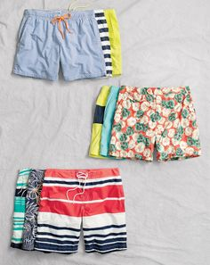 "In classic floral, scenic and geometric prints, our J.Crew men's quick-drying nylon swimsuits come in three styles: 6"" trunks, 6 1/2"" tab shorts and 9"" board shorts."