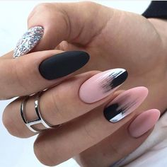 Here are 48 Fascinating Nails You Need To See! All of these nails are lov. Here are 48 Fascinating Nails You Need To See! All of these nails are lov. Perfect Nails, Gorgeous Nails, Pretty Nails, Black Ombre Nails, Blue Nail, Black And Nude Nails, Almond Acrylic Nails, Cute Acrylic Nails, Black Almond Nails
