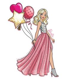 Modern Barbie in glamour dress Barbie Theme, Barbie Birthday, Barbie Party, Birthday Cake, Barbie Painting, Barbie Drawing, Barbie Y Ken, Princess Barbie, Barbie Dress