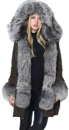Thick Silver Fox Fur Trimmed Down Coat in Army Green or Black                                                                                                                                                                                 More