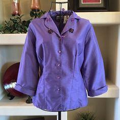 Purple jacket Purple jacket, 3/4 sleeves, 54% nylon, 46% polyester. Kathy Lee Collection Jackets & Coats