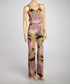 Black Paisley Sleeveless Jumpsuit by Pink Polkadot