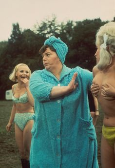 Elizabeth Knight, Hattie Jacques and Barbara Windsor in Carry On Camping. Comedy Actors, Comedy Movies, Drama Movies, Film Movie, Sidney James, Kenneth Williams, Shelley Winters, Barbara Windsor, British Comedy