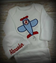 Baby boy gown airplane applique custom monogram by LittleQTCouture